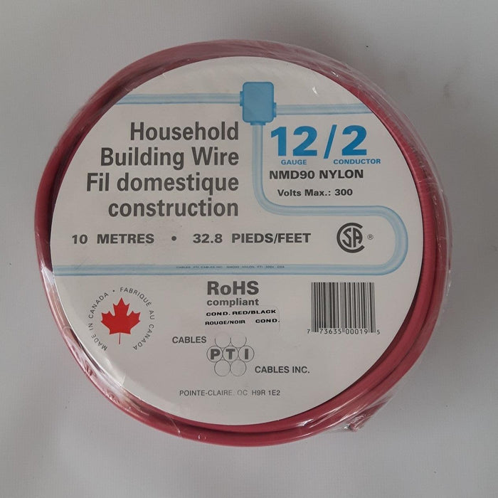 PTI Cables Household Building Wire NMD90, 12/2 10m Red