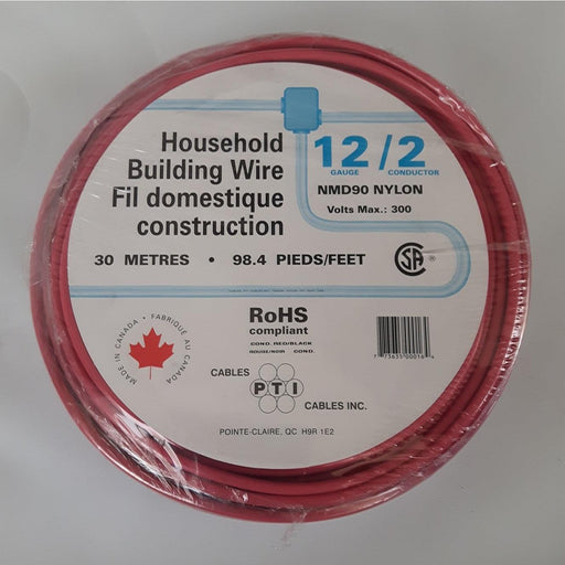 Household Building Wire NMD90, 12/2 30m Red - SKU#: NMD12/2RED30 UPC: 773635000164
