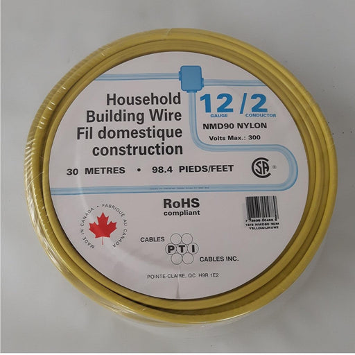 Household Building Wire, NMD90 12/2 30m Yellow