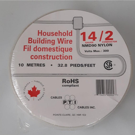 Household Building Wire, NMD90, 14/2 10m