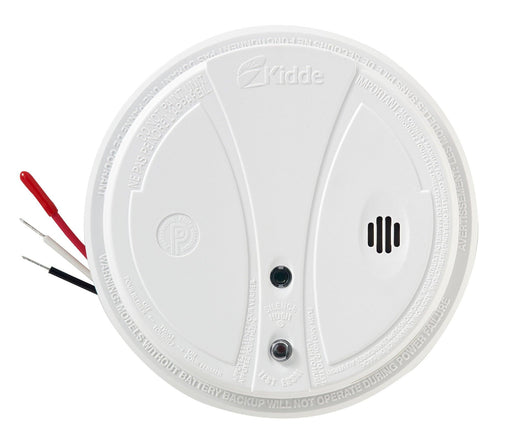 This device is a 120V AC, wire-in smoke alarm with a 9 V backup batteries. It is suitable for all living areas and provides continuous protection against smoke and fire hazards, even during power. SKU: KIDP1275CA  UPC: 047871403813