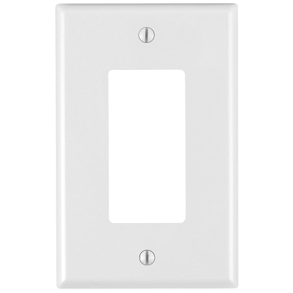 Leviton 1 Gang Midway Decora/ GFCI device Wallplates give a simple clean aesthetic look; with rounded edges and a smooth finish making it dust resistant. These wall plates easily blend in with any decor, are easy to install and economically priced. UPC 078477212394