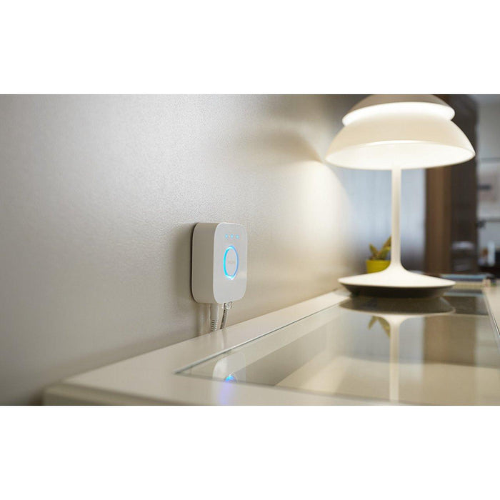 The Hue Bridge allows you to connect and control up to 50 lights and accessories. SKU: SIG458471 UPC: 046677458478