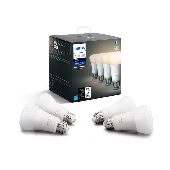 Pack of 4 Philips Hue White lights- Get comfortable, soft white light in your home with these four fully dimmable smart light bulbs. Dimmable from bright daylight to low nightlights, these smart lights allow you to fill your home with just the right level of warm light when you need it. SKU: PHI453118 UPC: 046677433765