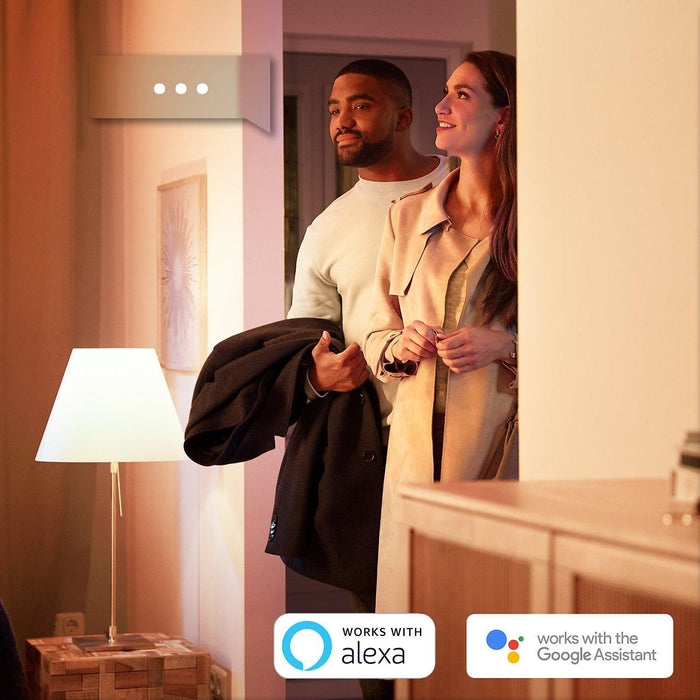 Pack of 4 Philips Hue White lights - Get comfortable, soft white light in your home with these four fully dimmable smart light bulbs. SKU: PHI453118 UPC: 046677433765