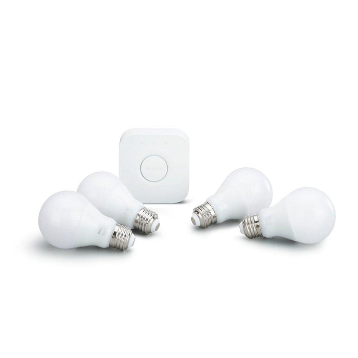 Enhance your lighting experience with a Philips Hue White E26 starter kit. Connect your warm white bulbs to the included Hue Bridge to take advantage of features such as wireless dimming, routines, and timers. SKU: PHI472019  UPC: 046677472016