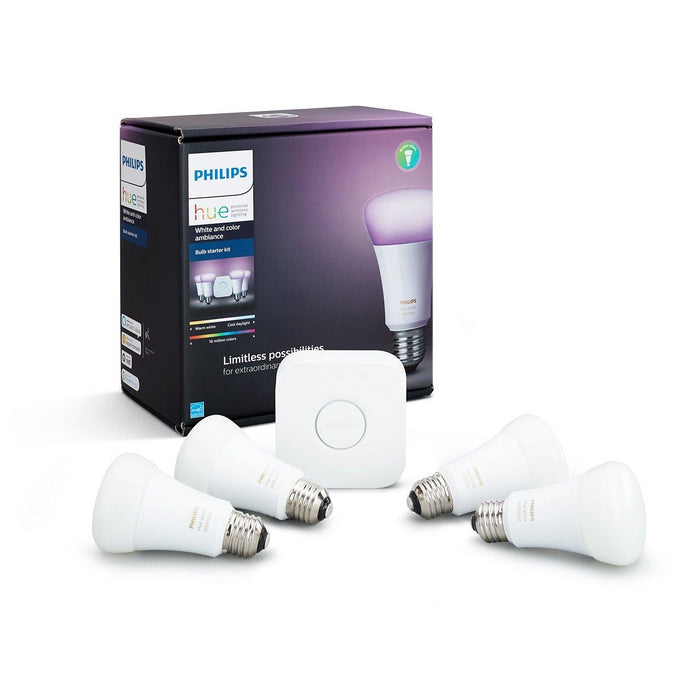 Signify Philips Hue White & Colour Ambiance A19 Starter Kit (Pack of 4), Model 471978