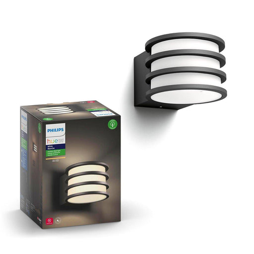 The Lucca Outdoor wall lantern is a modern styled wall lantern that offers the smart lighting capabilities of Philips Hue. Connect to the Hue Bridge and set your lights to turn on when you near home. SKU: PHI802058  UPC: 046677802059
