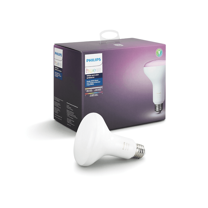 The Hue White and Colour BR30 was made to light larger areas, this single flood light bulb brings millions of colors to any room in your home. Connect to the Hue Bridge to unlock the full smart lighting control and features. SKU: PHI468942 UPC:  046677468941