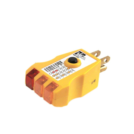 Receptacle Tester is very useful testing for correct wiring, open ground, reverse polarity, open hot, open neutral, and hot/ground reversed. This tester maximizes comfort with its non-slip ergonomic design. SKU: IDE61501   UPC: 783250615018