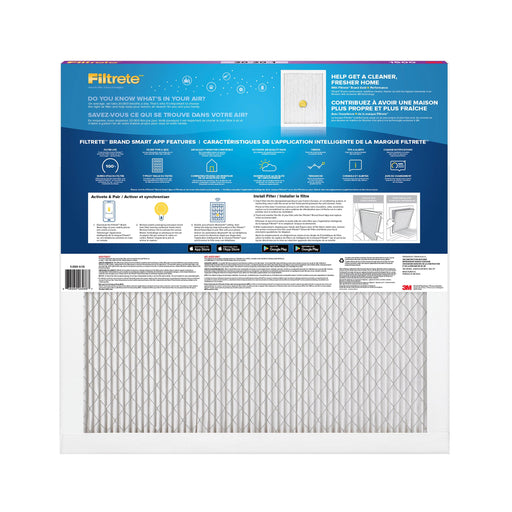 Filtrete™ Smart Air Filter attracts and captures microscopic particles such as bacteria, particles that can carry viruses, and large particles like mould spores and pollen. Its Bluetooth®-enabled sensor pairs with the Filtrete™ Smart Air Filter App to help track filter life and determine optimal replacement time. MPR 1500, 20 in x 20 in x 1 in  SKU: MMM150020X20X1  UPC: 638060264867