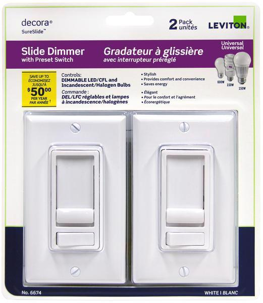 Universal Decora SureSlide Dimmer with Preset Switch - White (Pack of 2)