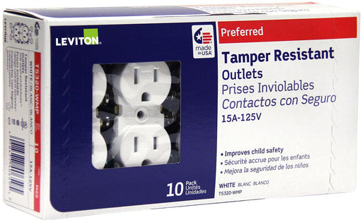 Leviton's tamper resistant duplex, is impact resistant with a thermoplastic design that allows for quick installation, durability and a long service life in homes, offices, schools, guest rooms and other settings. SKU#: T5320752 T5320-W UPC: 078477406595 078477381618