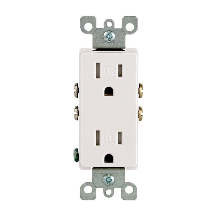 Decora tamper-resistant receptacles comply with the latest NEC® requirements for use in residences and childcare facilities. Featuring a contemporary appearance, the impact-resistant thermoplastic design allows for quick installation, durability and a long service life in homes, offices, schools and other settings. SKU#: T5325-W T5325742 UPC: 078477381625