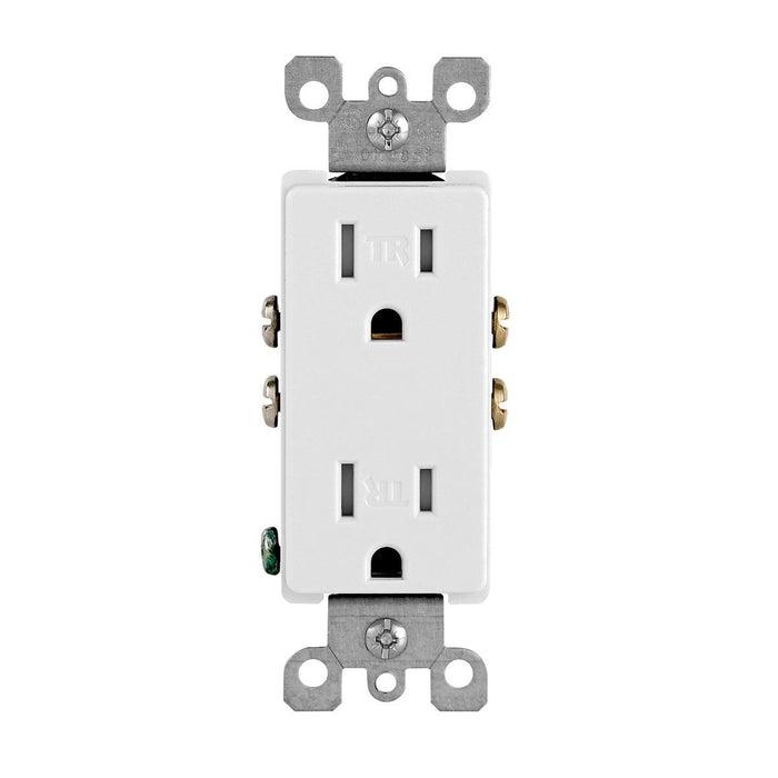 Decora tamper-resistant receptacles comply with the latest NEC® requirements for use in residences and childcare facilities. Featuring a contemporary appearance, the impact-resistant thermoplastic design allows for quick installation, durability and a long service life in homes, offices, schools, guest rooms and other settings. SKU# T5325-W T5325752 UPC: 078477406618