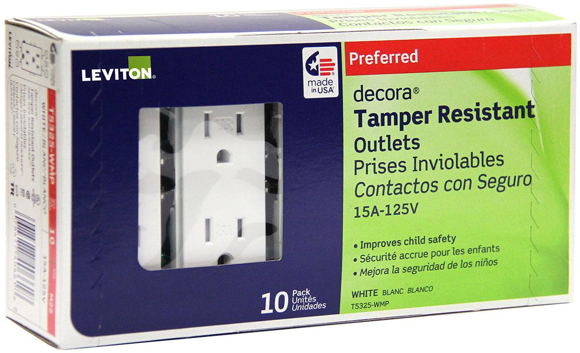 Pack of ten Decora Tamper Resistant Duplex Receptacles SKU# T5325-W T5325752 UPC: 078477406618