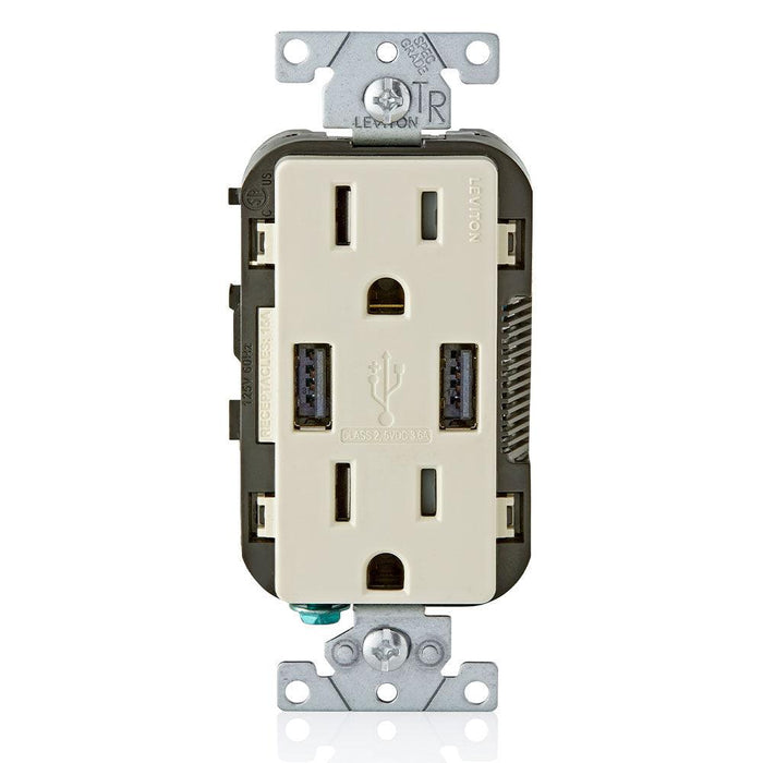 Leviton Type A Dual USB Charger with 15A Tamper-Resistant Receptacle (Light Almond) Model T5632*