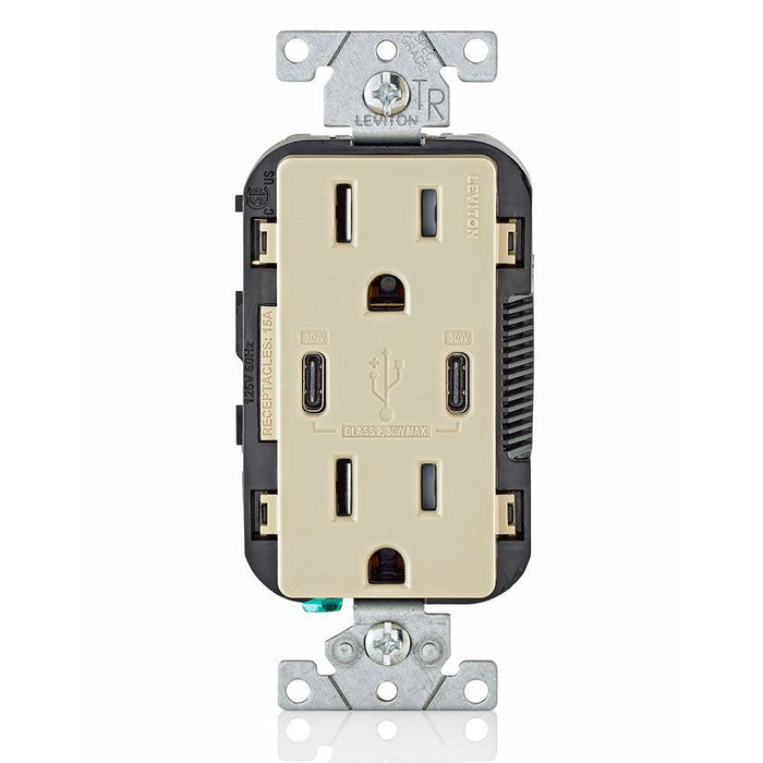Leviton Type-C Dual USB Charger with 15A Tamper-Resistant Receptacle (Ivory) Model T5635*