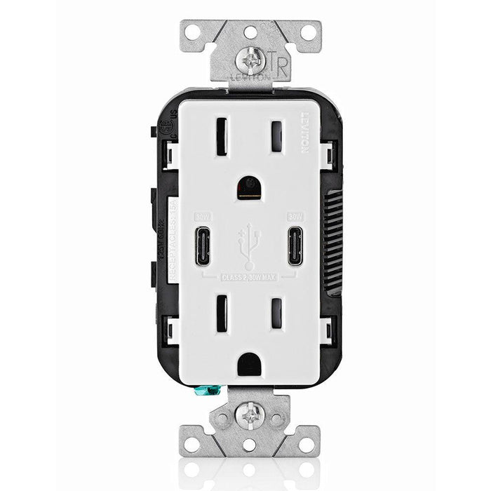 Leviton Type-C Dual USB Charger with 15A Tamper-Resistant Receptacle (White) Model T5635