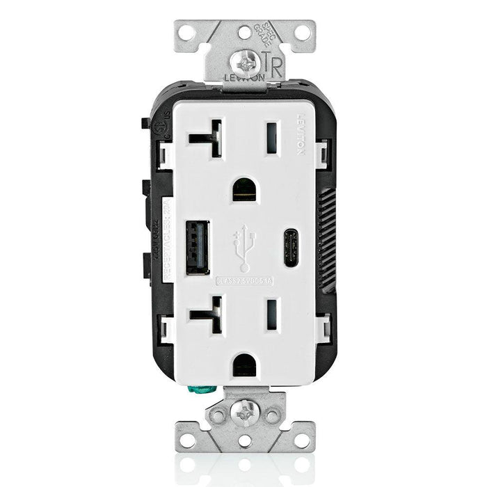 Leviton Type A & Type-C USB Charger with 20A Tamper-Resistant Receptacle (White) Model T5833