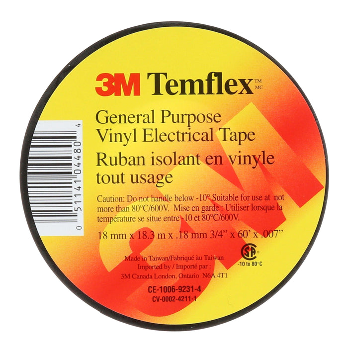 3M™ Temflex™ General Use Vinyl Electrical Tape is the solution for less demanding indoor jobs. This black, 7-mil, economy-grade vinyl tape is designed for general purpose applications. SKU: MMMTEMFLEX  UPC: 051141044804