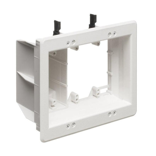 Arlington's recessed TVBUS0S non-metallic combination power and low voltage TV BOX™ is the secure, easy way to mount a flat screen TV flush against a wall. It features power in one side; low voltage in the other for Class 2 wiring of satellite, cable TV, speakers, surround sound systems and more.