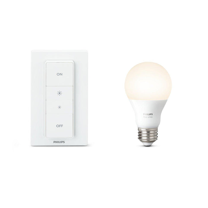 Get started with Philips Hue wireless dimming kit and enjoy smooth wireless dimming. Control the bulb with the included dimmer switch, or connect everything to a Philips Hue bridge for control from your smart device. SKU: PHI458991 UPC: 046677458997