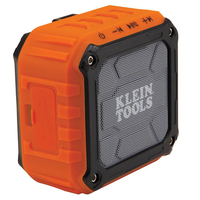 The Klein Tools AEPJS1 is a powered speaker that provides 5 watts of high-quality sound for smartphones, tablets, computers and other audio devices via a wireless Bluetooth connection or wired auxiliary input. It answers calls hands-free with the built-in speakerphone and can be magnetically attached to any steel surface. SKU: KLEAEPJS1 UPC: 092644690556