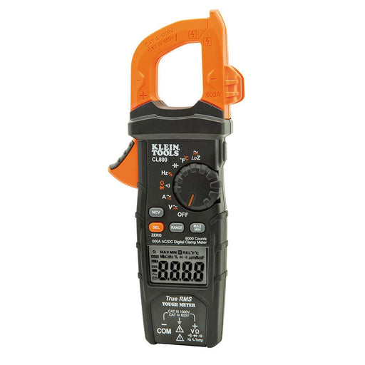 The Klein Tools CL800 is an automatically ranging true root mean squared (TRMS) digital clamp meter that measures AC/DC voltage, resistance, continuity, frequency, capacitance, and test diodes via test-leads, and temperature via a thermocouple probe. SKU: KLECL800 UPC: 092644690167