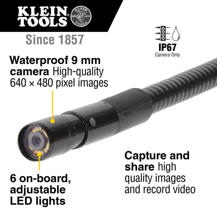 Capture and share images and videos on your phone using the Klein Tools ET16 Borescope. It features a 9 mm camera surrounded by 6 LEDs attached to a 10-Foot (3.0 m) armored gooseneck cable. The digital camera has a USB Type-C (and micro-USB) connection for most Android devices SKU: KLEET16  UPC: 092644692987