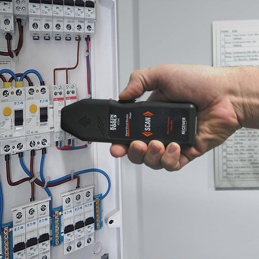Quickly, accurately, and automatically find the corresponding circuit breaker of any 120V standard electrical outlet with this digital circuit breaker finder.  SKU: KLEET300   UPC: 092644693021