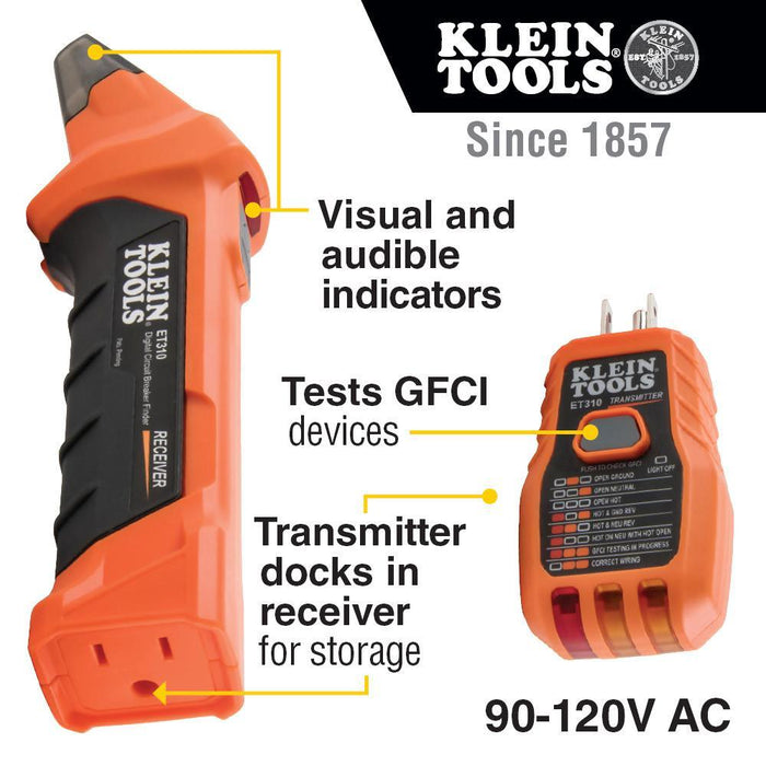The Klein Tools ET310 is a digital circuit breaker finder used to locate the correct circuit breaker in a panel to which an electrical outlet or fixture is connected. This digital Transmitter also features a GFCI outlet tester. SKU: KLEET310 UPC: 092644692406