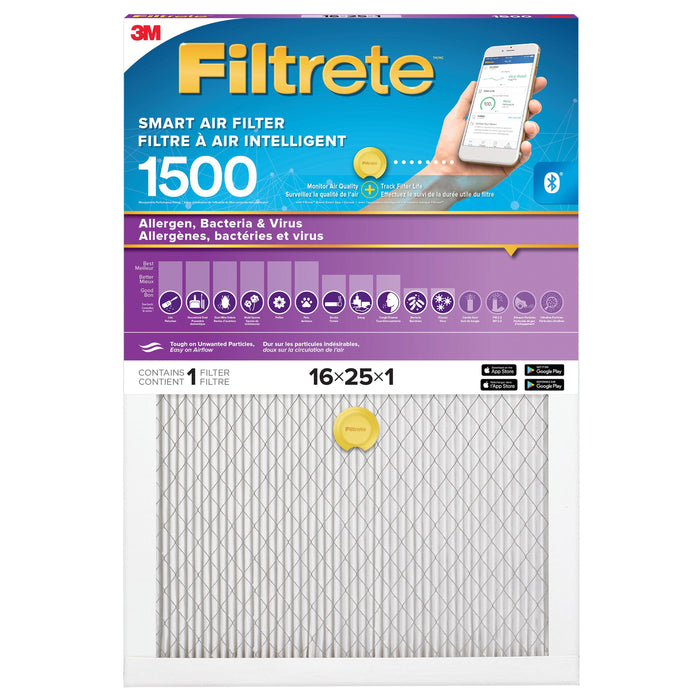 The Filtrete™ Smart Air Filter attracts and captures microscopic particles such as bacteria, particles that can carry viruses, and large particles like mould spores and pollen. Its Bluetooth®-enabled sensor pairs with the Filtrete™ Smart Air Filter App to help track filter life and determine optimal replacement time. MPR 1500, 16 in x 25 in x 1 in. SKU: MMM150016X25X1 UPC: 638060264874