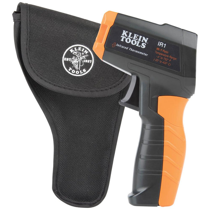 Klein Tools IR1 is an infrared thermometer with a targeting laser. It has a wide measurement range of -4 to 752°-Degree Fahrenheit (-20 to 400-Degree Celsius) and a 10:1 distance-to-spot ratio. The backlit display provides clear readings. SKU: KLEIR1   UPC: 092644692925