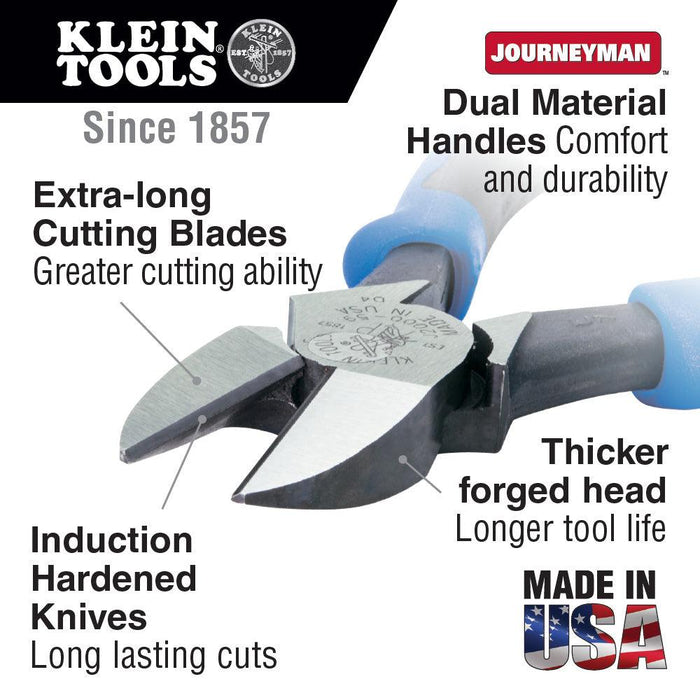 Klein Tools 2000 series heavy-duty cutting pliers cut ACSR, screws, nails and most hardened wire while the angled blades make it easier to work in confined spaces. Dual-material Journeyman handles provide better grip and added comfort. SKU: KLEJ200059  UPC: 092644720512