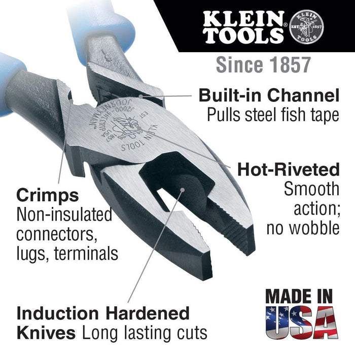 "These Klein Tools Lineman's side-cutting pliers have cross-hatched knurled jaws, and built-in channels for pulling fish tapes without damage. Their unique tempered handle design, with dual material Journeyman handles, provide a better grip and absorbs the ""snap"" when cutting wire, screws, nails or ACSR.  SKU: KLEJ20009NECRTP  UPC: 092644721243"