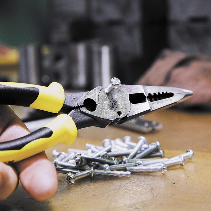This All Purpose tool is the perfect combination of a wire stripper and long nose pliers, with the added bonus of a crimper. The J2078CR can cut, strip and twist wire,  shears bolts, crimps and reaches into tight spaces.  The J2078CR can cut, strip and twist wire,  shears bolts, crimps and reaches into tight spaces. SKU: KLEJ2078CR  UPC: 092644384059