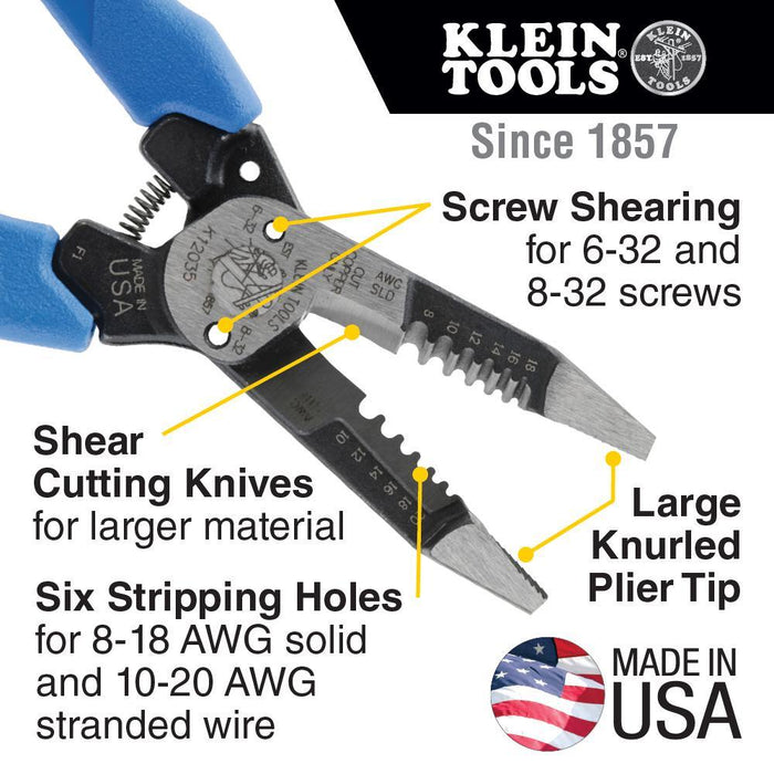 Klein Kurve heavy-duty wire strippers have shear-cutting knives for a lower force to cut copper wire and larger cable such as Romex and other nonmetallic (type NM) cable. SKU: KLEK12035  UPC: 092644343353