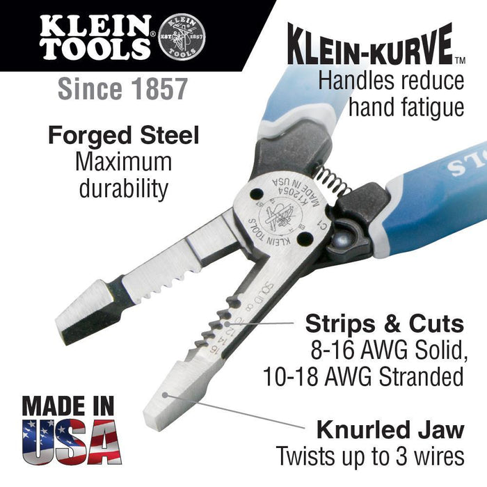 Klein Tools' Heavy-Duty Wire Stripper provides durable wire cutting, stripping and twisting plus bolt shearing in one tool. Four times stronger than existing Klein wire strippers. SKU: KLEK12054 UPC: 092644343544