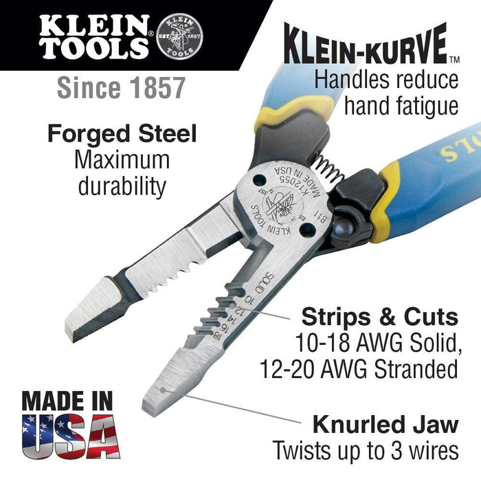 Klein Tools' heavy-duty wire stripper is built with the durability of pliers and the sharpness and precision of a wire stripper. This American-made tool provides durable wire cutting, stripping and twisting plus bolt shearing in one tool. Four times (4X) stronger than traditional Klein wire strippers. SKU: KLEK12055 UPC: 092644343551
