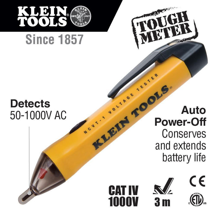 Use this Non-Contact Voltage Tester to detect standard voltage in cables, cords, circuit breakers, lighting fixtures, switches, outlets, and wires. A bright green LED will tell you the tester is working and also functions as a work light. SKU: KLENCVT1 UPC: 092644690006