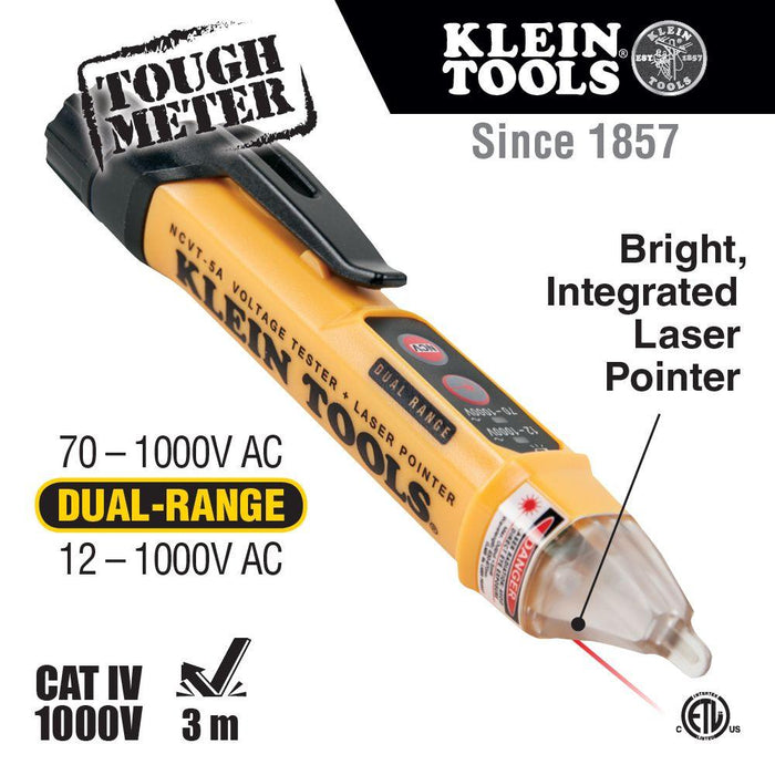 Klein Tools Non-Contact Voltage Tester Pen, Dual Range, with Laser Pointer, Model NCVT-5A*