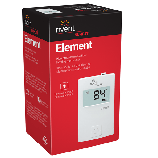 nVent Nuheat Element is a basic electronic floor heating thermostat. Simple up and down controls, control any electric floor heating system. SKU: NUHAC0057 Part Id: ELEMENT UPC: 620713001738