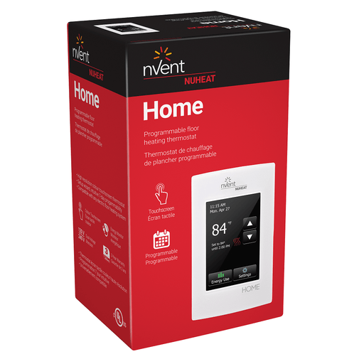NVent Nuheat Home thermostat is a high resolution color touchscreen thermostat that allows easy control and programming of any electric floor heating system. SKU#: NUHAC0056 UPC: 620713001721