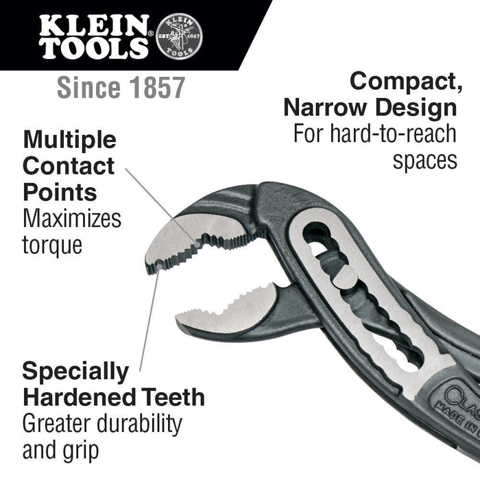 The Klein Tools Klaw Pump Pliers are uniquely designed. The jaw provides multiple points of contact for maximum torque, specially hardened teeth cover the inside of the jaw for excellent gripping power. Grips are extended for added comfort. SKU: KLED50410  UPC: 092644730467