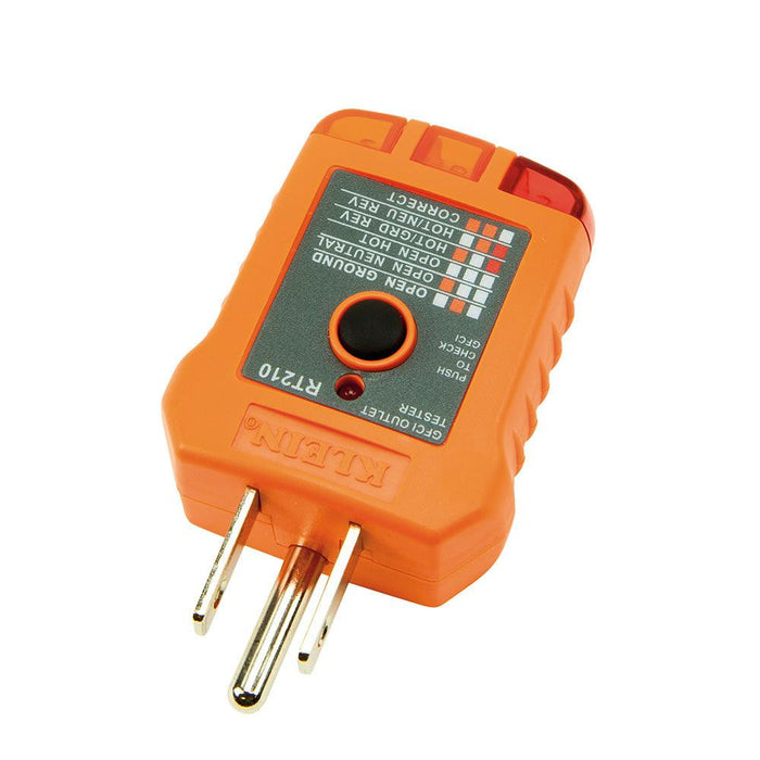The GFCI Receptacle Tester by Klein Tools is designed to detect the most common wiring problems in standard and GFCI receptacles. Conditions indicated: open ground, reverse polarity, open hot, open neutral, hot/ground reversed. SKU: KLERT210 UPC: 092644690273