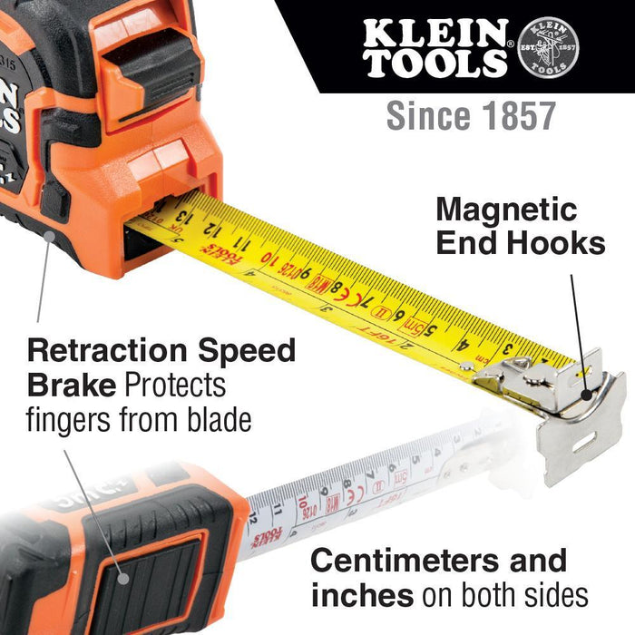 This 7.5 Meter Klein Tools magnetic double hook measuring tape has a center top portion for hanging and passing through conduit  Its' sealed tape brake panel offers safe retraction, and keeps water and dirt out to prevent tape blade rust and degradation. SKU: KLE86375 UPC:  092644863752
