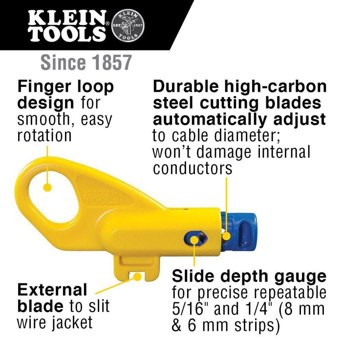 Klein Tools Twisted Pair Radial Stripper CAT3, CAT5/5e and CAT6/6A, Model VDV110261