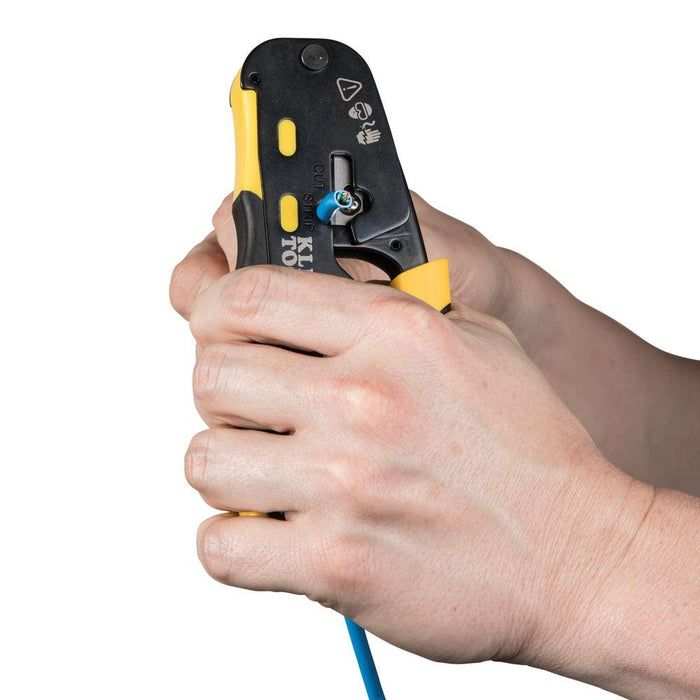 Ratcheting Cable Crimper / Stripper / Cutter, for Pass-Thru
