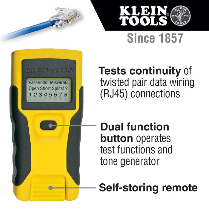 This easy-to-use, compact tester saves time and money on the job. The LAN Scout® Jr. tests continuity on twisted pair data wiring connections. UPC: 092644580840  SKU:  KLEVDV526052